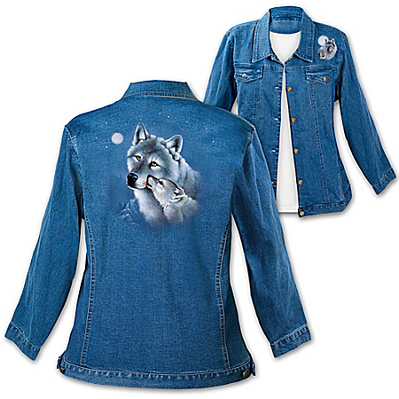 Moments In The Wilderness: Women's Denim Jacket With Wolf Art