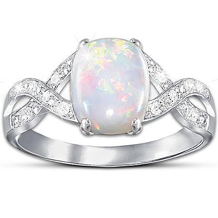 Shimmering Elegance: Australian Opal And Diamond Women's Ring by The Bradford Exchange Online - Lovely Exchange