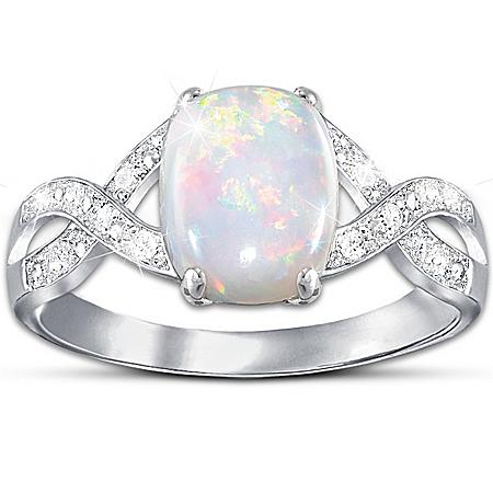 Shimmering Elegance: Australian Opal And Diamond Women's Ring