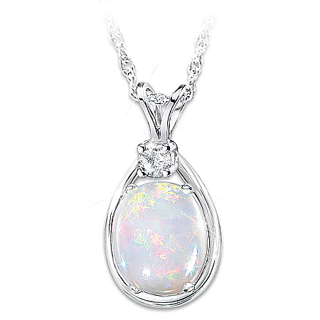 Shimmering Elegance Opal And Diamond Sterling Silver Pendant Necklace