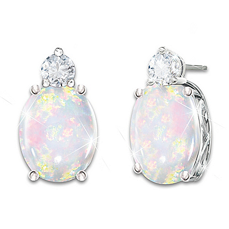 Shimmering Elegance Australian Opal And Diamond Earrings