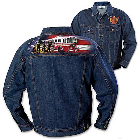 The Brotherhood Of Courage - Firefighter Men's Denim Jacket