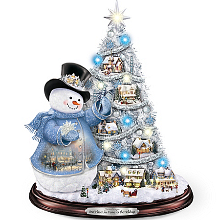 Thomas Kinkade Snowman Pre-Lit Christmas Tree: Sno' Place Like Home For The Holidays