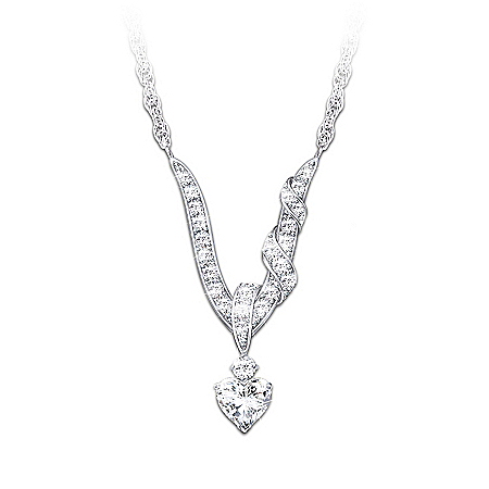 Heart-Shaped Sterling Silver Necklace With White Topaz Gemstones: Wrapped In Love