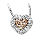 Heart-Shaped White And Mocha-Colored Diamond Pendant Necklace - Heart Of Love