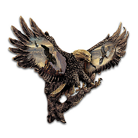 Cold-Cast Bronze Bald Eagle Wall Sculpture: Gleaming Majesty