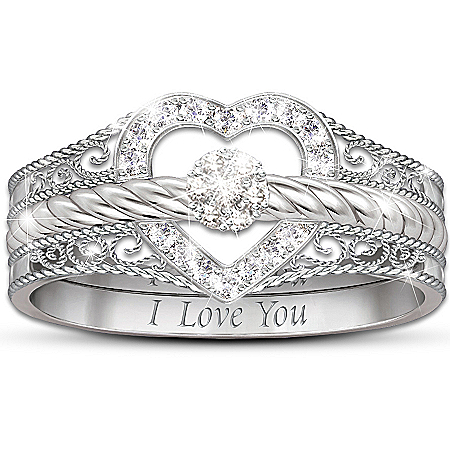 """I Love You"" Heart-Shaped Diamond Stacking Rings"
