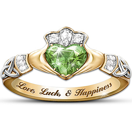Irish Claddagh Ring With Cubic Zirconia Heart at Center