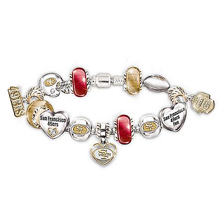 Go 49ers! #1 Fan NFL San Francisco 49ers Women's Charm Bracelet
