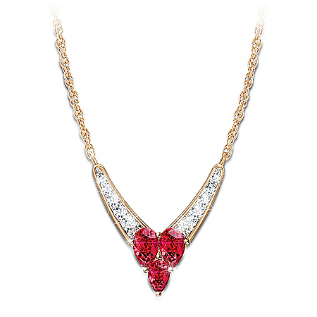 "The ""Enduring Love"" Garnet And Diamond Necklace: Romantic Jewelry Gift"