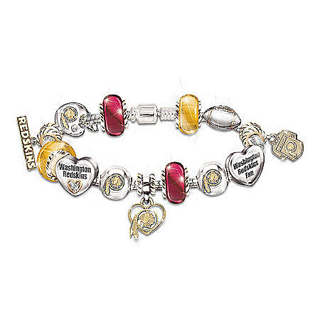 Go Redskins! #1 Fan Charm Bracelet by The Bradford Exchange Online - Lovely Exchange
