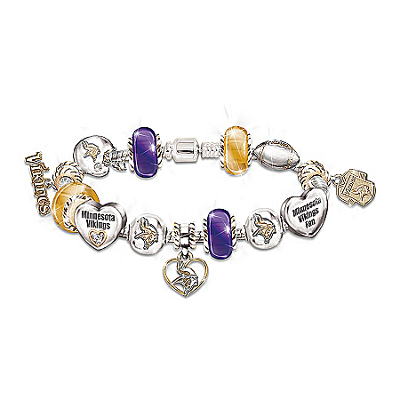 Go Vikings! #1 Fan NFL Charm Minnesota Vikings Women's Bracelet