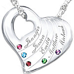 Family Is Love Personalized Genuine Birthstone Necklace