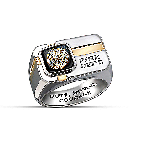 For My Firefighter - Sterling Silver And Black Onyx Men's Ring