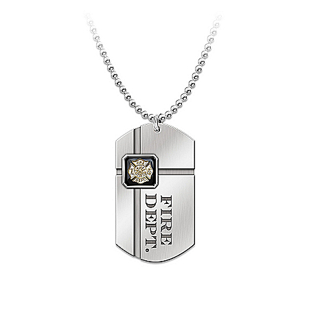 Photo of Fireman's Dog Tag Pendant Necklace: For My Firefighter by The Bradford Exchange Online
