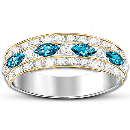 "The ""Infinite Joy"" Women's Ring With Genuine Blue Topaz"