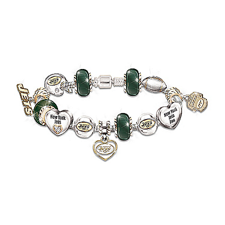 Go Jets! #1 Fan NFL New York Jets Women's Charm Bracelet
