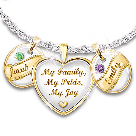 My Family, My Pride, My Joy - Personalized Birthstone Pendant Necklace