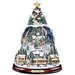 Thomas Kinkade Wondrous Winter Musical Tabletop Christmas Tree With Snowglobe - Lights Up!