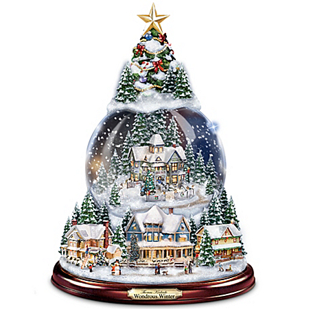 "Thomas Kinkade ""Wondrous Winter"" Musical Tabletop Christmas Tree With Snowglobe: Lights Up!"