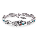 Spirit Of The Eagle Turquoise & Red Jasper Cabochons Bracelet