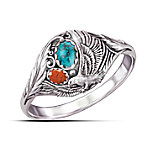 Spirit Of The Eagle Turquoise And Jasper Silver Ring