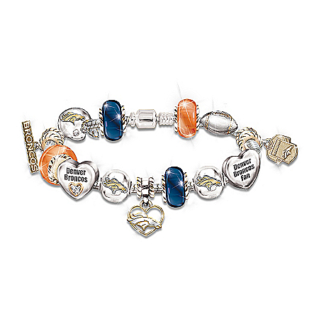 Go Broncos! #1 Fan Charm Bracelet by The Bradford Exchange Online - Lovely Exchange