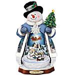 Thomas Kinkade 'Tis The Season To Be Jolly Christmas Musical Snowman Figurine - Lights Up!