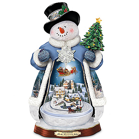 Thomas Kinkade Lighted Moving Musical Snowman Figurine
