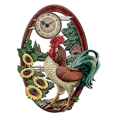 Country Pride Rooster Wall Clock