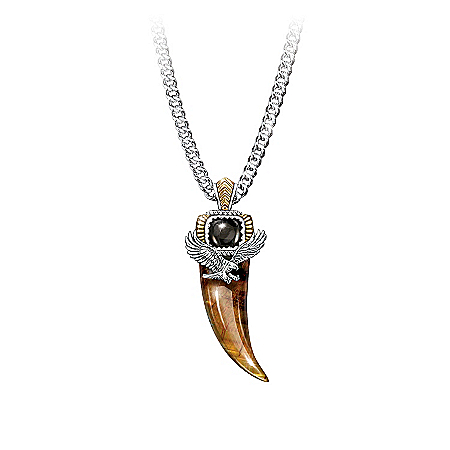 Photo of Majestic Power Genuine Tiger's Eye And Black Onyx Eagle Talon Pendant Necklace by The Bradford Exchange Online