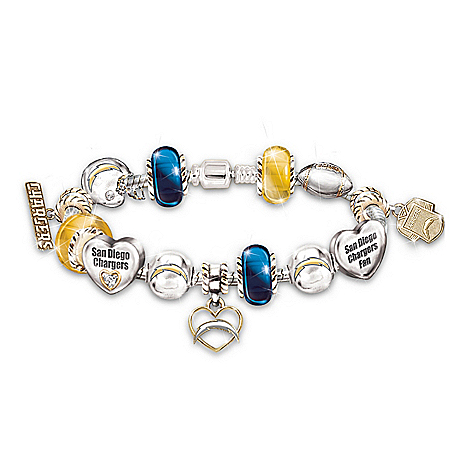 NFL San Diego Chargers #1 Fan Charm Bracelet: Go Chargers! 113084001