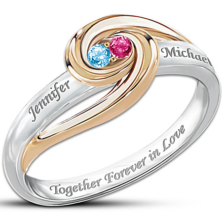 """Together Forever In Love"" Personalized Birthstone Ring - Personalized Jewelry"