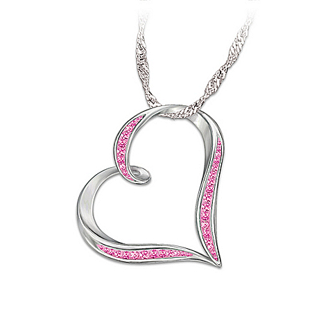 Breast Cancer Support Heart-Shaped Crystal Pendant Necklace: Heart Of Hope