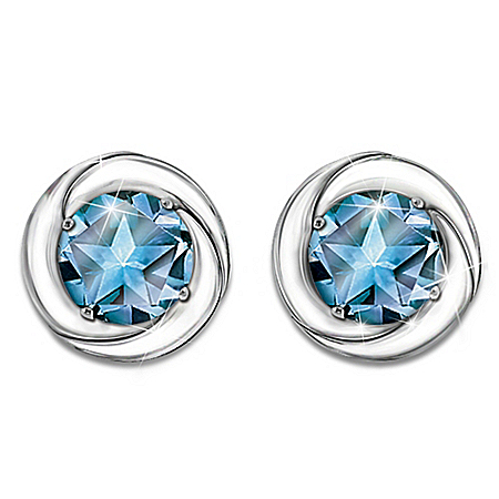 Photo of Earrings: Reach For The Stars Sterling Silver And Topaz Earrings by The Bradford Exchange Online