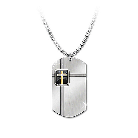 "The Lord's Prayer ""Strength In Faith"" Onyx Dog Tag Pendant Necklace"