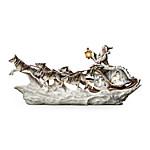 Wolf Art Illuminated Christmas Decor Sculpture - Santa's White Wolf Sleigh