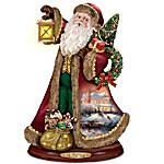 Thomas Kinkade Santa Claus Christmas Sculpture - Deck The Halls