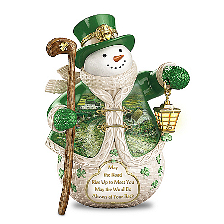 When Irish Eyes Are Smiling Snowman Figurine Featuring Edmund Sullivan's Landscape Art
