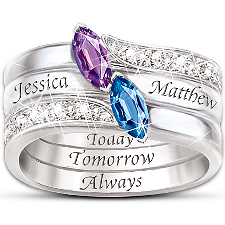 Engraved Personalized Birthstone Couples Ring: Together As One