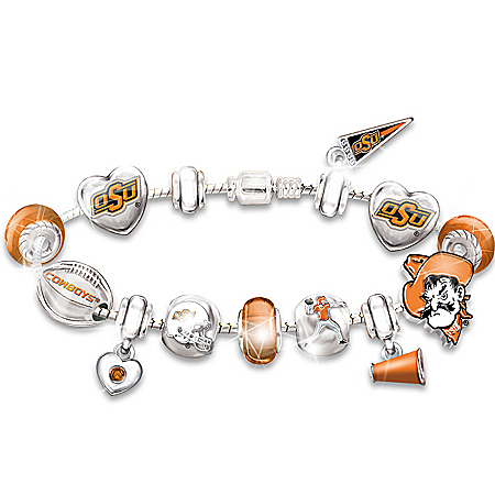 Oklahoma State Cowboys Charm Bracelet by The Bradford Exchange Online - Lovely Exchange