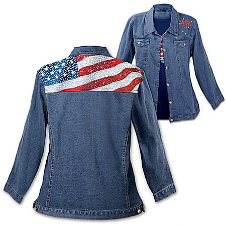 American Flag Women's Denim Jacket: American Sparkle