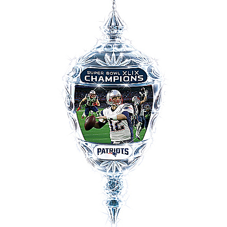 New England Patriots Super Bowl XLIX Champions Crystal Ornament
