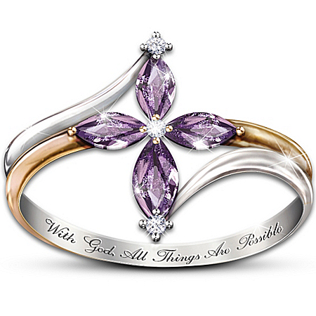 The Holy Trinity Amethyst And Diamond Women's Cross Ring