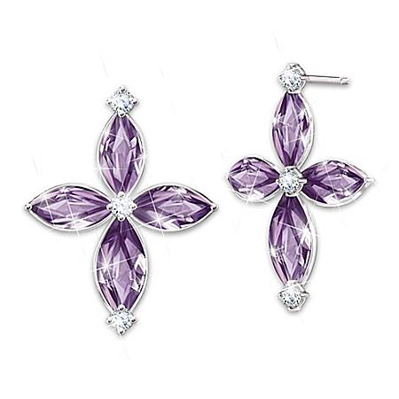 Holy Trinity Amethyst And Diamond Earrings