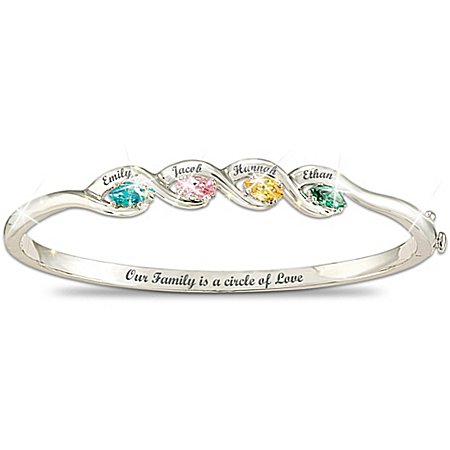 "Our Family Is A Circle of Love"" Personalized Birthstone Bracelet"