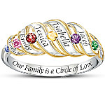 Our Family Is A Circle Of Love Sterling Silver Personalized Birthstone Ring