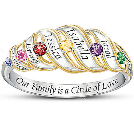 Our Family Is A Circle Of Love: Sterling Silver Personalized Birthstone Ring by The Bradford Exchange Online - Lovely Exchange