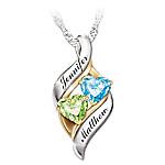 Romantic Personalized Birthstone Pendant Necklace - Loving Embrace