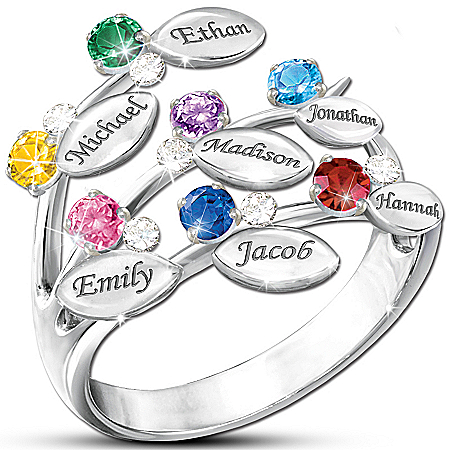 """""""Our Family Of Love"""" Personalized Birthstone Ring – Personalized Jewelry"""